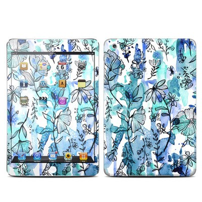 Apple iPad Mini Skin - Blue Ink Floral