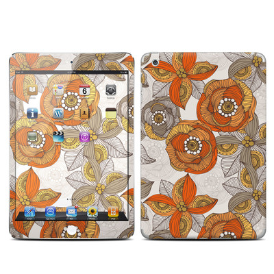 Apple iPad Mini Skin - Orange and Grey Flowers