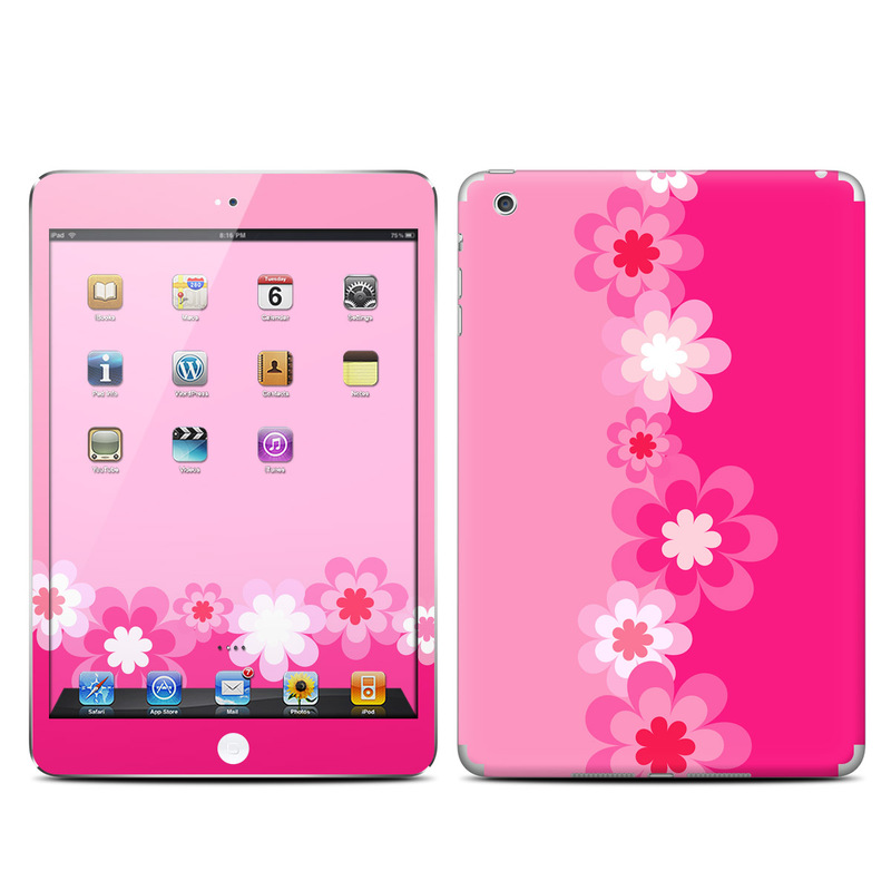 Apple iPad Mini Skin - Retro Pink Flowers | DecalGirl