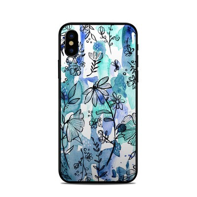 Apple iPhone X Skin - Blue Ink Floral