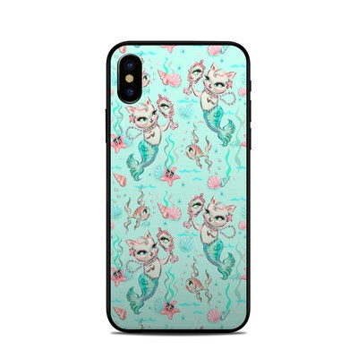 Apple iPhone X Skin - Merkittens with Pearls Aqua