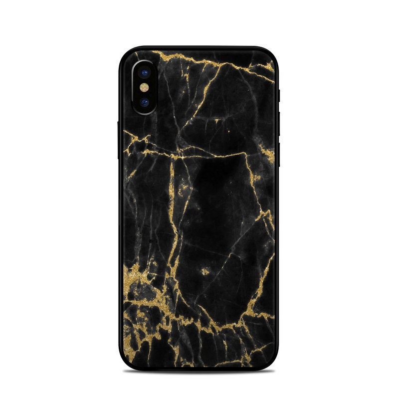 check out aee50 b7f71 Apple iPhone X Skin - Black Gold Marble
