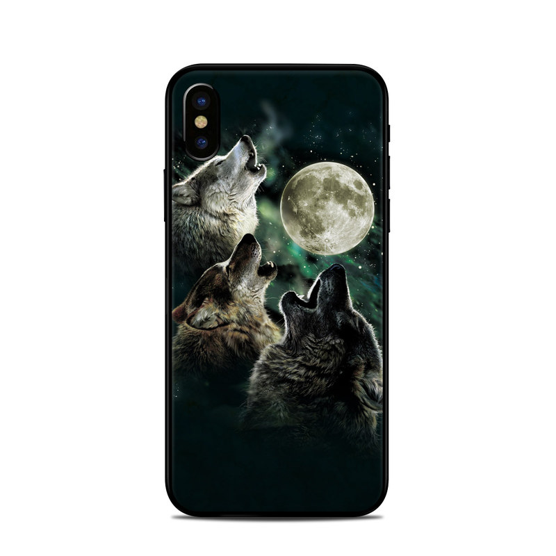 370a3d86f3f Apple iPhone X Skin - Three Wolf Moon by Antonia Neshev