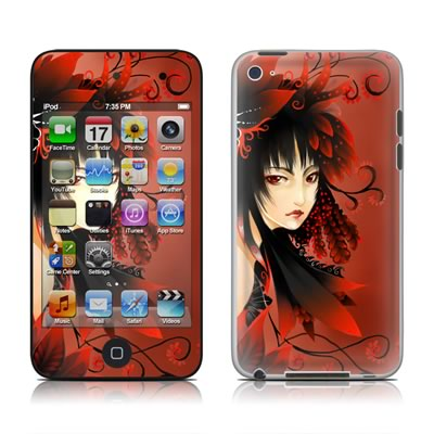 iPod Touch 4G Skin - Black Flower