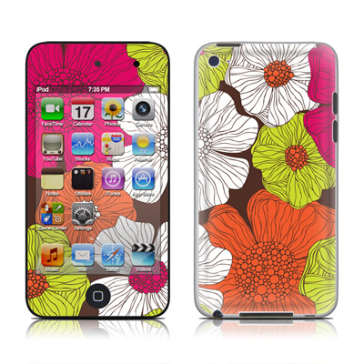 iPod Touch 4G Skin - Brown Flowers
