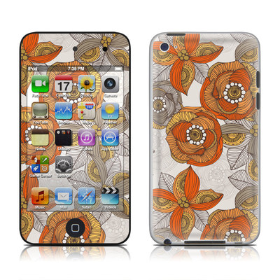 iPod Touch 4G Skin - Orange and Grey Flowers