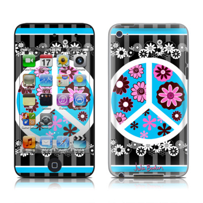 iPod Touch 4G Skin - Peace Flowers Black