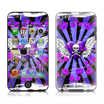 iPod Touch 4G Skin - Skull & Roses Purple