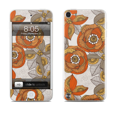 iPod Touch 5G Skin - Orange and Grey Flowers