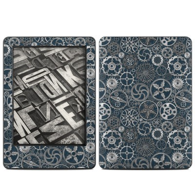 Amazon Kindle 2014 Skin - Silver Gears