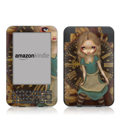 Kindle Keyboard Skin - Alice Clockwork