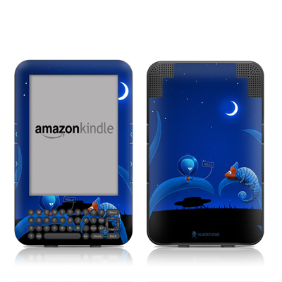 Kindle Keyboard Skin - Alien and Chameleon