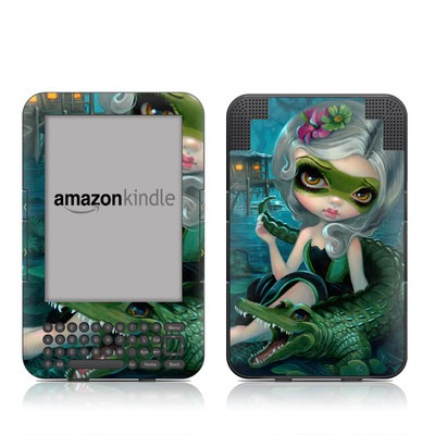 Kindle Keyboard Skin - Alligator Girl