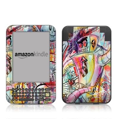 Kindle Keyboard Skin - Battery Acid Meltdown