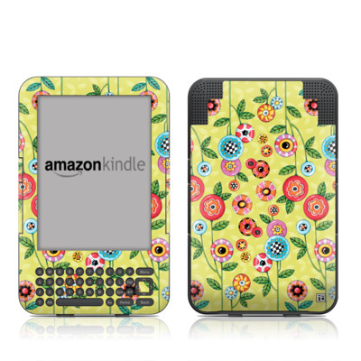 Kindle Keyboard Skin - Button Flowers