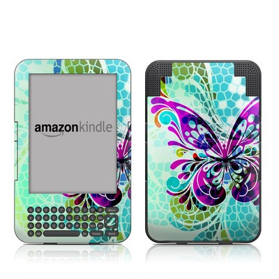 Kindle Keyboard Skin - Butterfly Glass