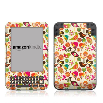 Kindle Keyboard Skin - Bird Flowers