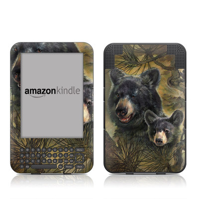Kindle Keyboard Skin - Black Bears