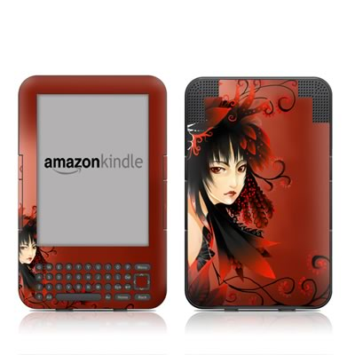 Kindle Keyboard Skin - Black Flower