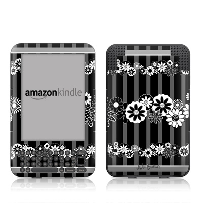Kindle Keyboard Skin - Black Retro