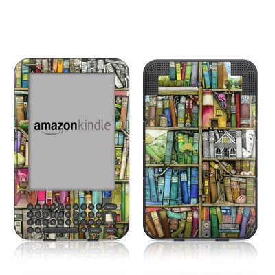 Kindle Keyboard Skin - Bookshelf