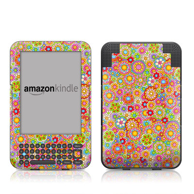 Kindle Keyboard Skin - Bright Ditzy