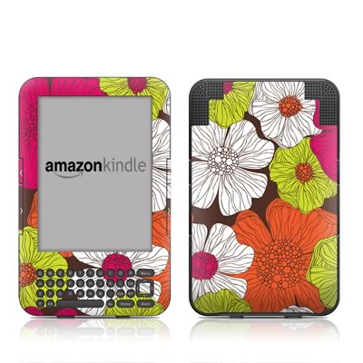 Kindle Keyboard Skin - Brown Flowers