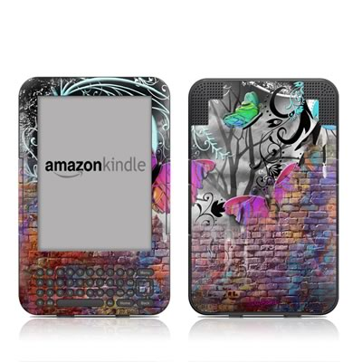 Kindle Keyboard Skin - Butterfly Wall
