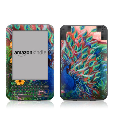 Kindle Keyboard Skin - Coral Peacock