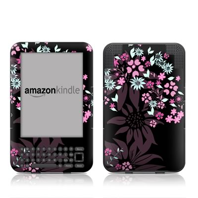 Kindle Keyboard Skin - Dark Flowers
