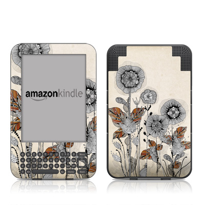 Kindle Keyboard Skin - Four Flowers