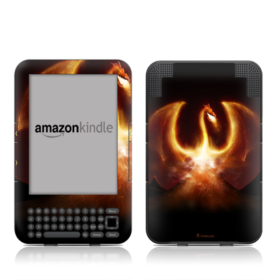 Kindle Keyboard Skin - Fire Dragon