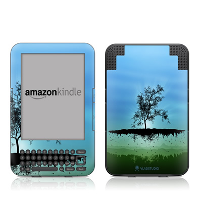 Kindle Keyboard Skin - Flying Tree Blue