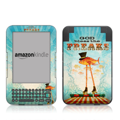 Kindle Keyboard Skin - God Bless The Freaks