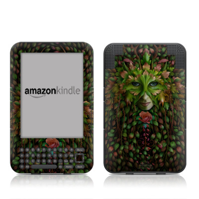 Kindle Keyboard Skin - Green Woman