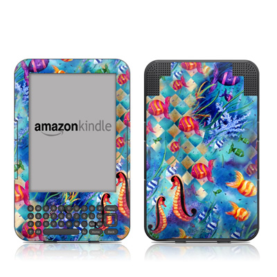 Kindle Keyboard Skin - Harlequin Seascape