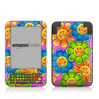 Kindle Keyboard Skin - Happy Daisies