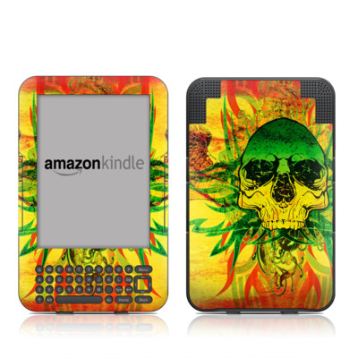 Kindle Keyboard Skin - Hot Tribal Skull