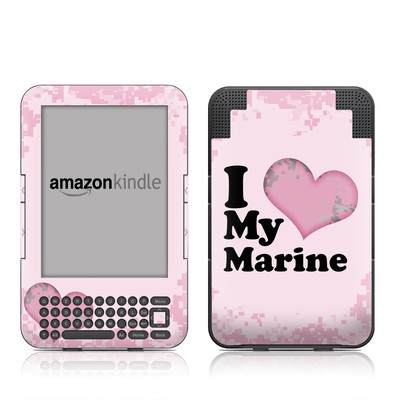 Kindle Keyboard Skin - I Love My Marine