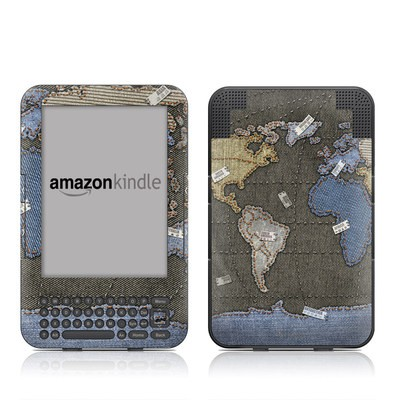 Kindle Keyboard Skin - Jean Map
