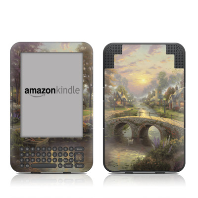 Kindle Keyboard Skin - Sunset On Lamplight Lane