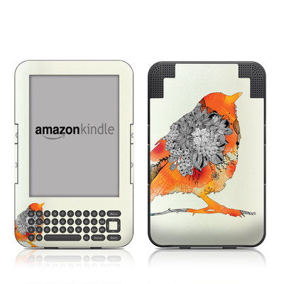 Kindle Keyboard Skin - Orange Bird