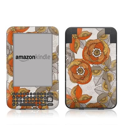 Kindle Keyboard Skin - Orange and Grey Flowers