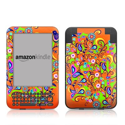 Kindle Keyboard Skin - Orange Squirt