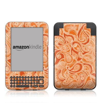 Kindle Keyboard Skin - Paisley In Orange