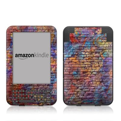 Kindle Keyboard Skin - Painted Brick