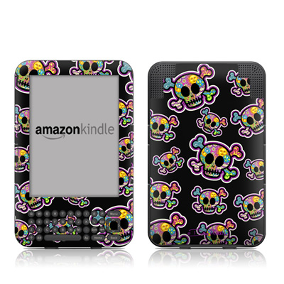 Kindle Keyboard Skin - Peace Skulls
