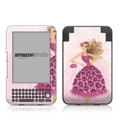 Kindle Keyboard Skin - Perfectly Pink