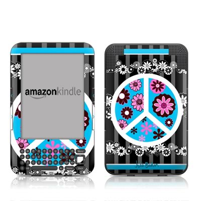Kindle Keyboard Skin - Peace Flowers Black