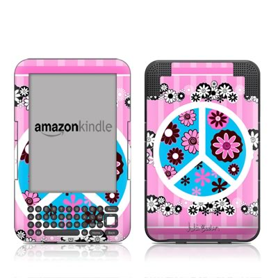 Kindle Keyboard Skin - Peace Flowers Pink
